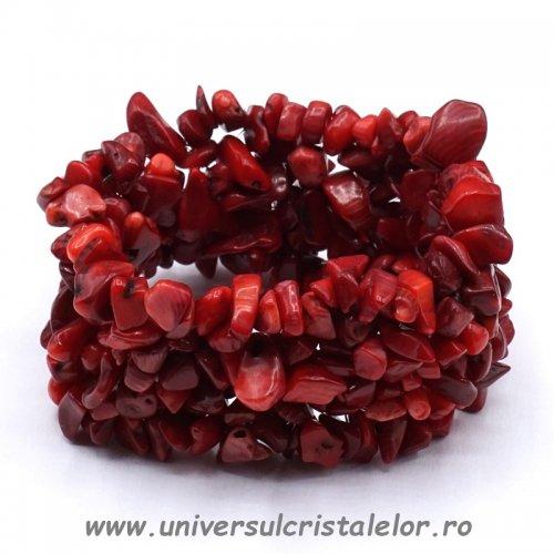Bratara coral rosu chipsuri