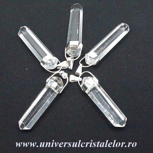 Pandantiv cristal de stanca dublu varf