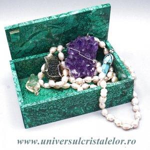 Caseta bijuterii malachit