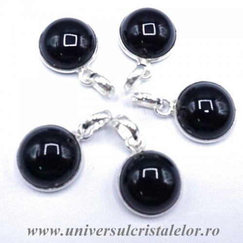 Pandantiv obsidian negru rotund