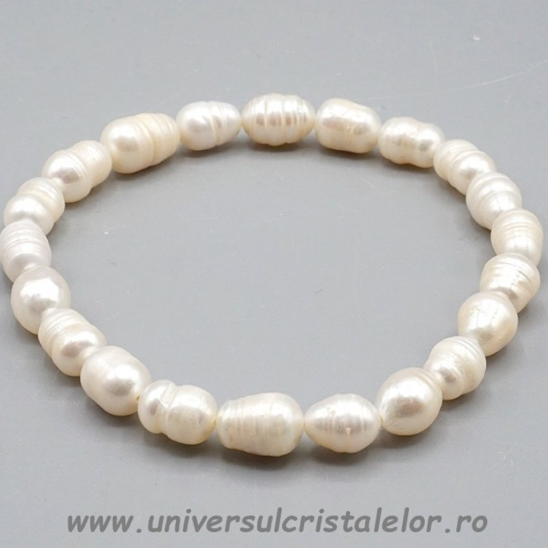 Bratara perle albe