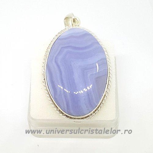 Pandantiv agat albastru dantela