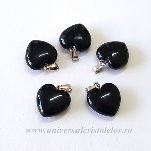 Pandantiv obsidian negru inimioara