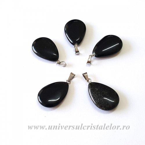 Pandantiv obsidian negru lacrima