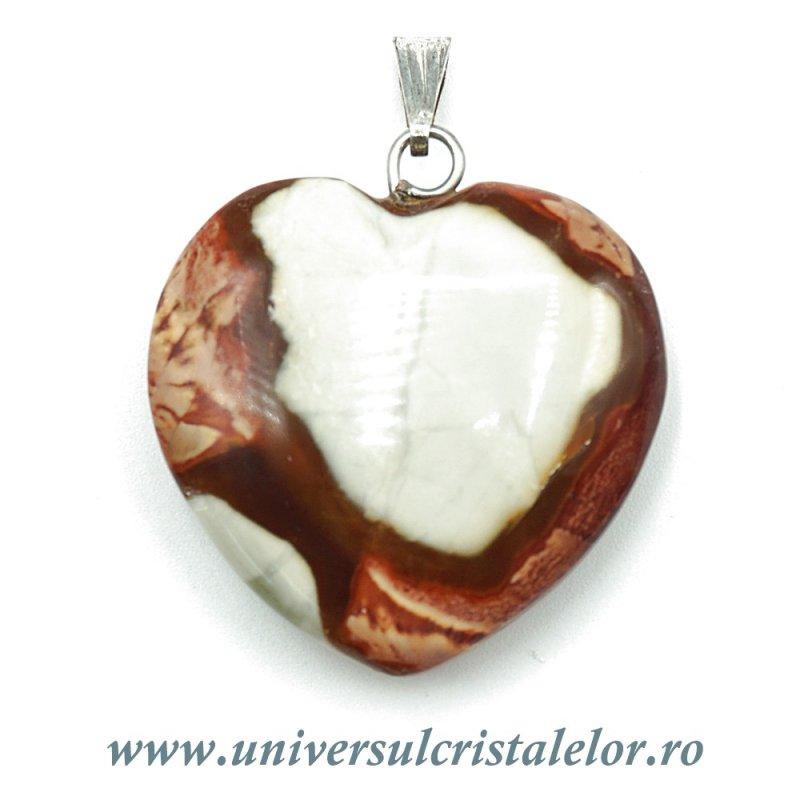 Pandantiv jasp policrom inima